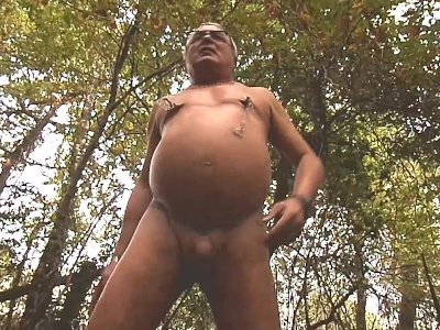 inflation naked in forest near a raod