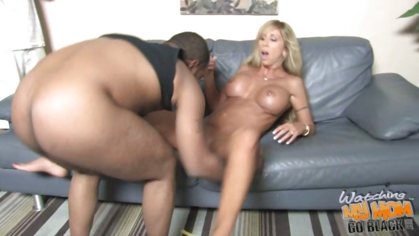 Morgan Ray lie on couch and let black man lick her cunt