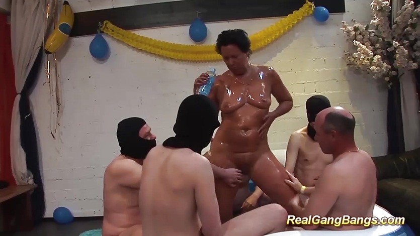 oiled Milf ready for gangbang