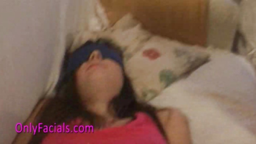 Teen Lucy gets facial in bondage