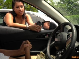Chubby Latina watches me flash cock jizz in my car
