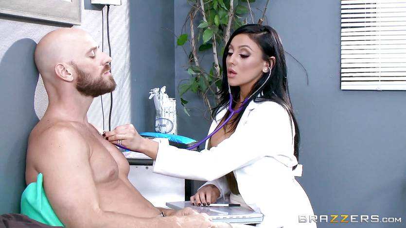 Big titted doctor Audrey Bitoni treats a big dicked patient
