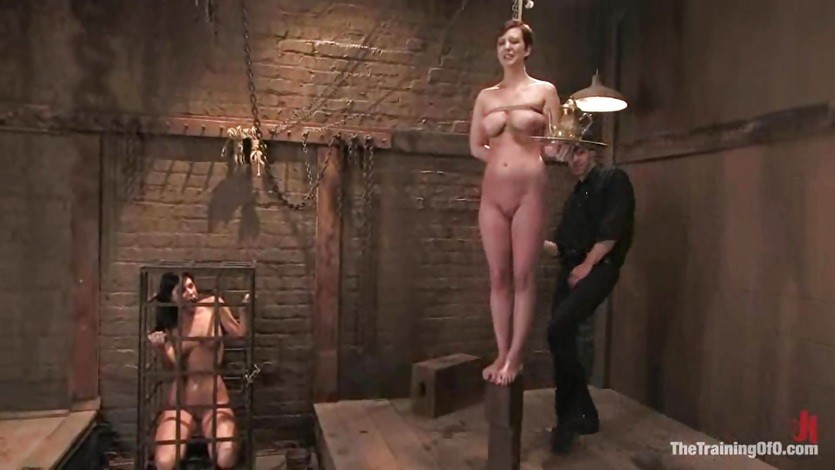 Bondage whore Cherry Tom serving her lord and getting served roughly